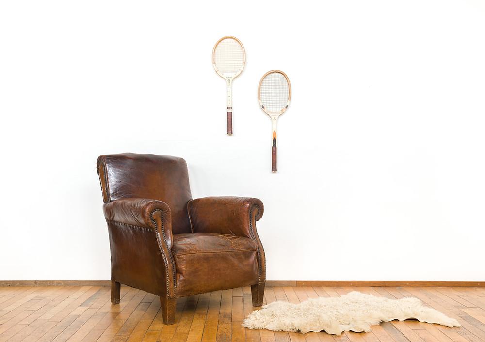 Vintage Antiek leer leder club club fauteuil fauteuil Frans schapenleer decoratie industrieel propeller propellerhome