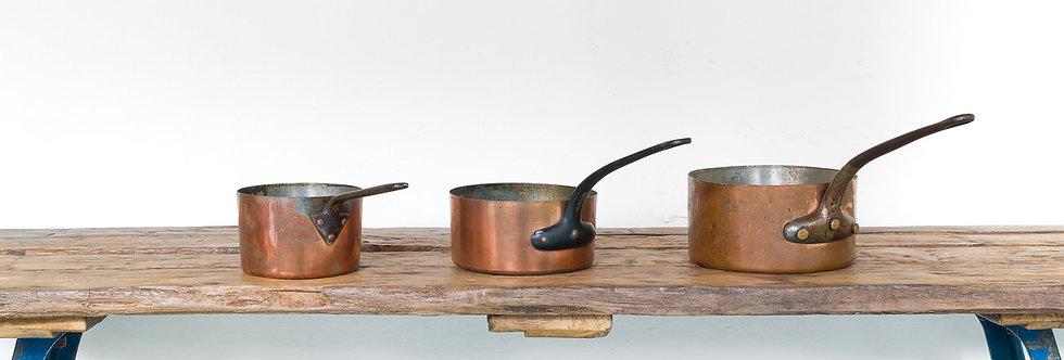 Antieke set koperen pannen pan koper