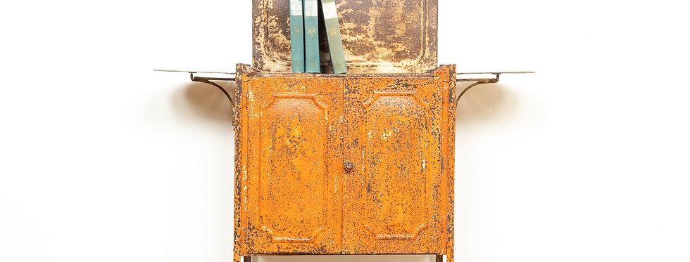 Vintage antiek industrieel industriële antieke bijzet kastje kast ziekenhuis kast patina metaal
