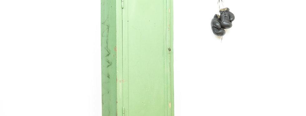 Vintage industriële houten locker kast lockerkast industrial industrieel antiekfabriek groen loft brocante inrichting