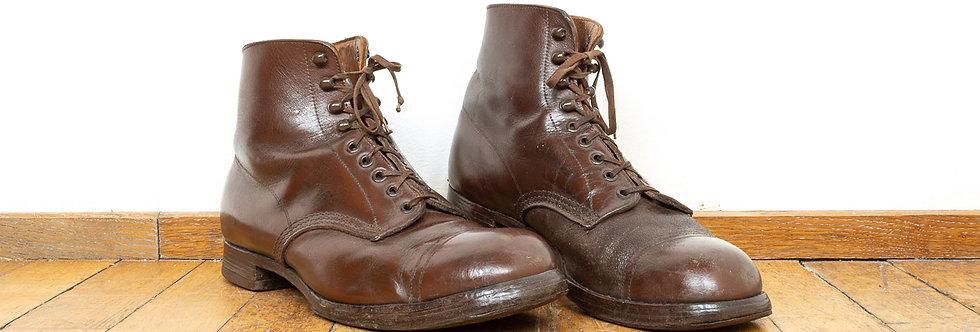 Antieke leren vintage leger enkel laarzen enkellaarzen boots werkschoenen werk schoenen antiek leer leder industrieel