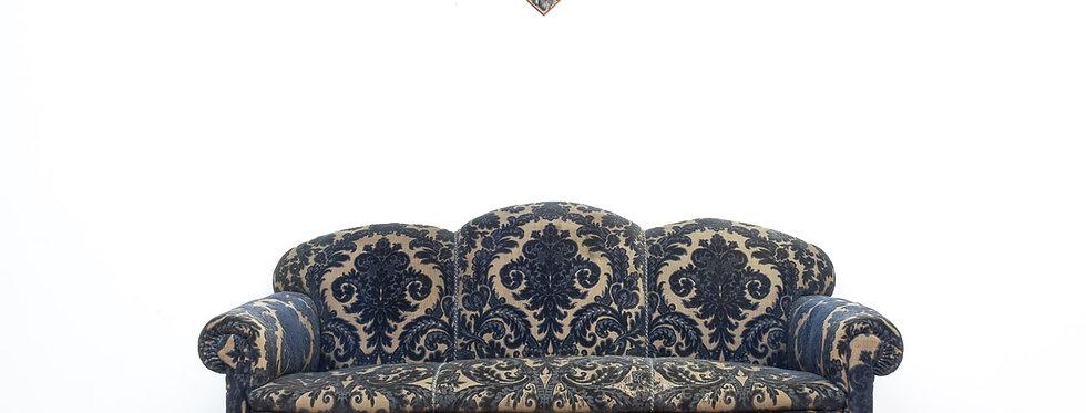 Vintage antieke bank peaky blinders stijl konings blauw antiek antique sofa bankstel
