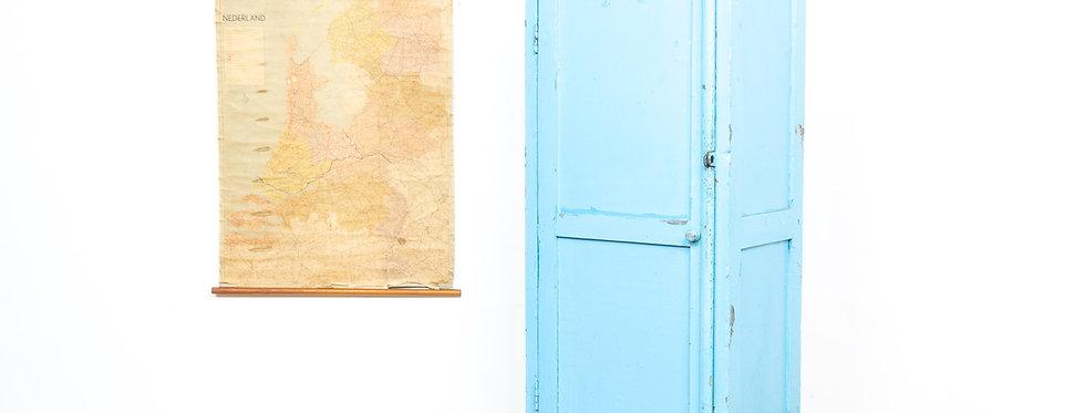 Vintage antieke industriële industrieel locker kast lockerkast hout blauw antiek kast kleding kinder kamer