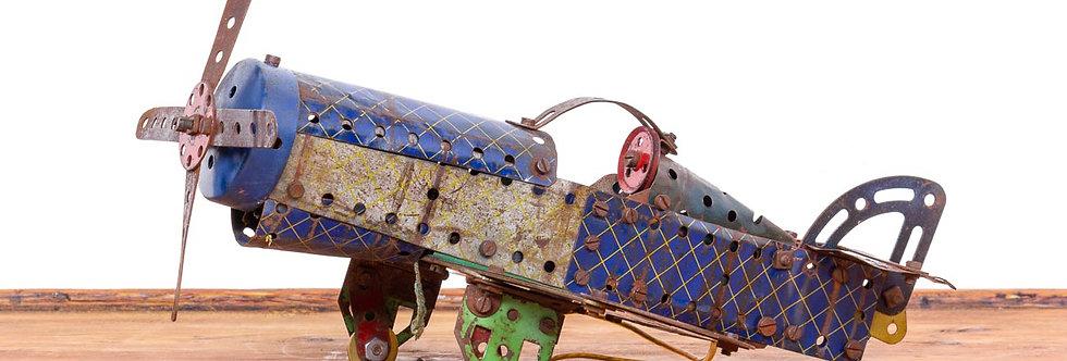 Vintage antiek speelgoed Meccano antique vliegtuig plane airplane toy metal tin toy