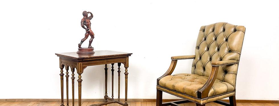 Antieke Chesterfield Gainsborough chair stoel bureaustoel leer leder antieke vintage stoel