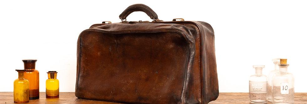 Vintage antieke leren leer bruin lederen dokterstas doktertas dokter tas akte tas aktetas
