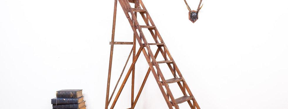 Franse antiek antieke vintage brocante schilders ladder trap decoratie etalage industrieel