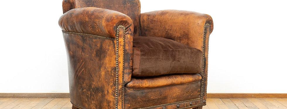Vintage antiek leren club fauteuil clubfauteuil clun chair armchair leer leder schapenleer Patina