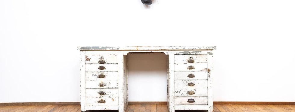Vintage industriele antieke antiek werkbank bureau ladekast industrieel  patina