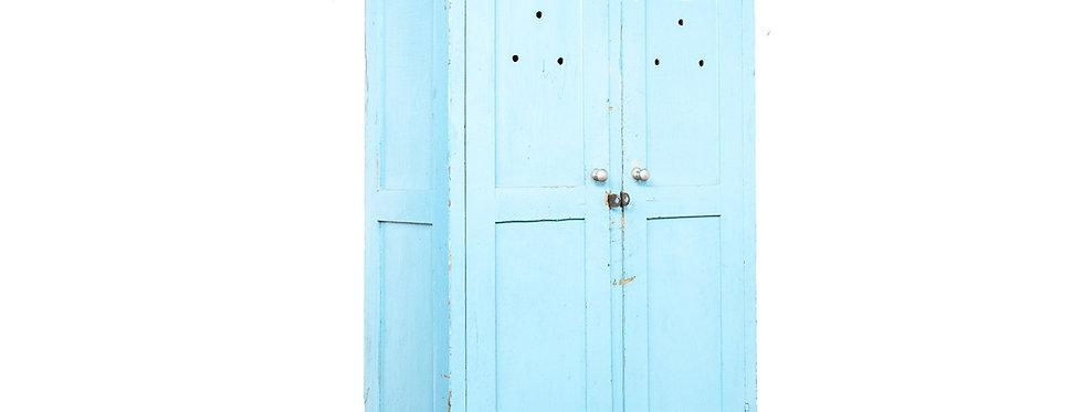 Vintage antieke blauwe houten lockerkast locker kast industrieel industriële kast