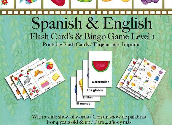 Spanish and English Printable Flash Cards and Bingo Game CD-ROM