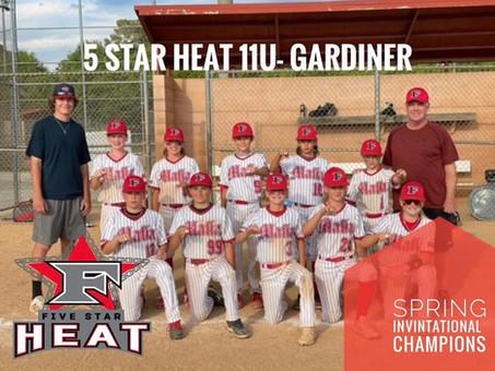 5 Star Heat 11u- Gardiner takes home Spring Invitational Win