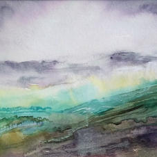 Misty Abstract Landscape by Christine Camp