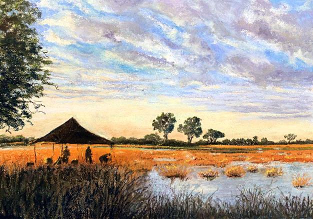 Breaking camp, Okovango Delta, Botswana by Valerie Webb