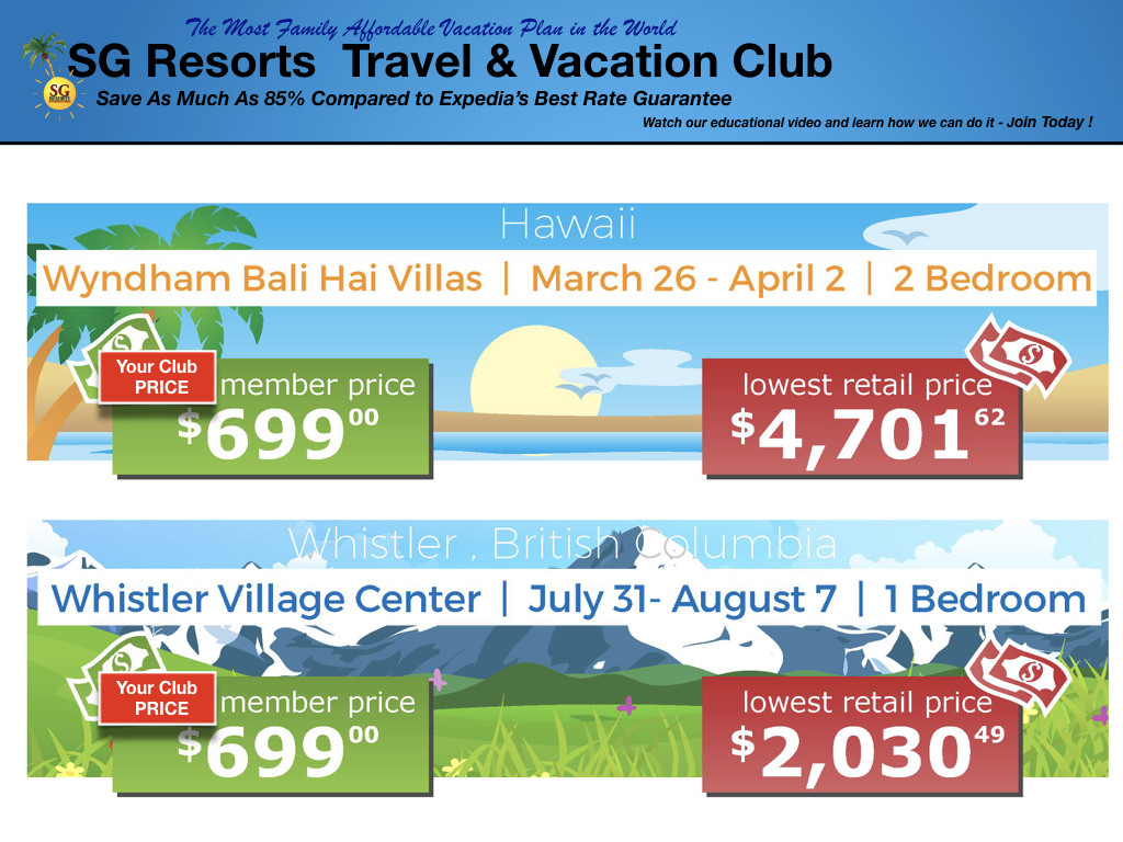 SG Resorts Club Rates