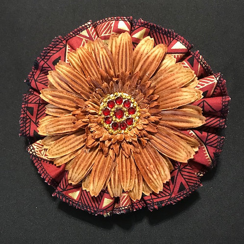 Medium Rustic Brown fabric, Brown Flower with Red & Gold Center