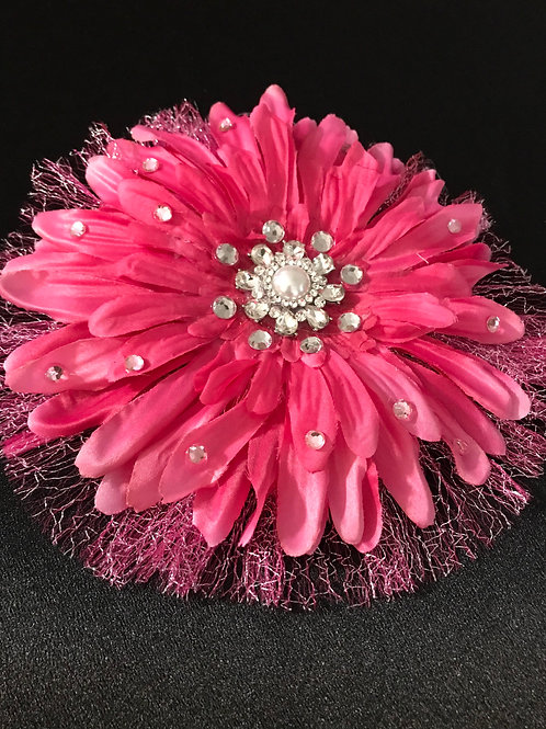 Large Hot Pink with Rhinestone Center and Petal Bling