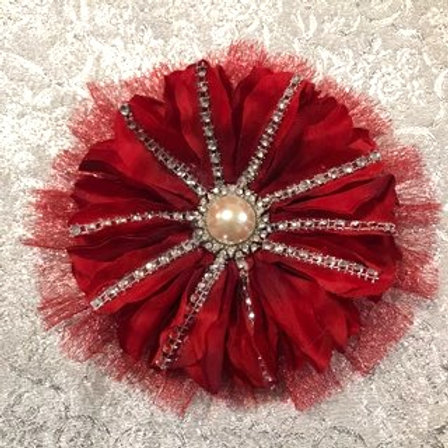 Medium Red flower with pearl center and line bling