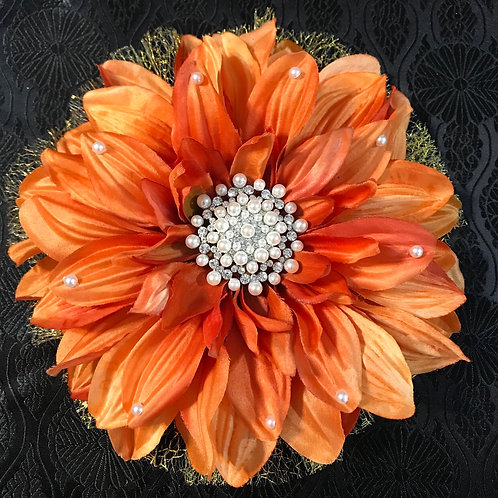 Large Orange Lapel Flower with rhinestone center and petal bling