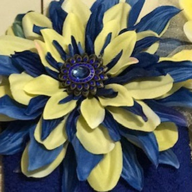 Large Blue & Yellow Flower W Blue Center