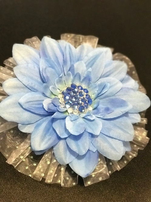 Large blue with blue rhinestone and tulle