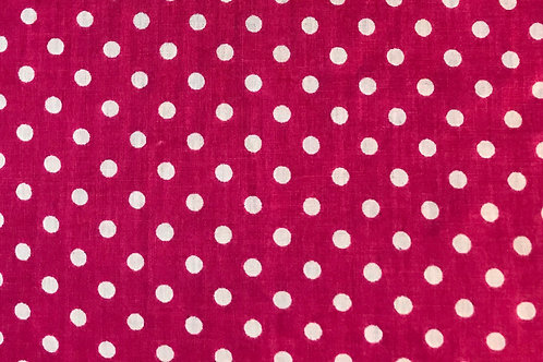 Pink with white polka dots mask