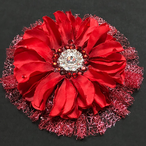 Large Red with Rhinestone center and bling
