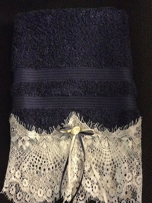 Navy Terry Towel with White Lace