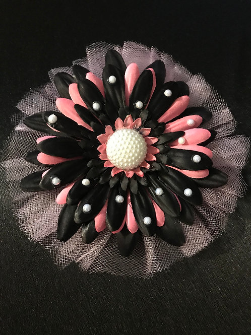 Medium Pink and Black with Pearl Center and Petal Bling