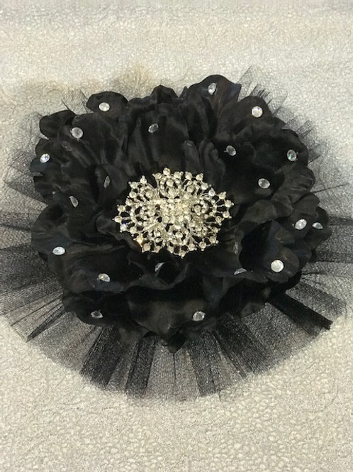 Large Black with Rhinestone Center and petal bling