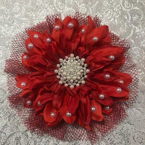 Large Red with Pearl Center and Petal bling