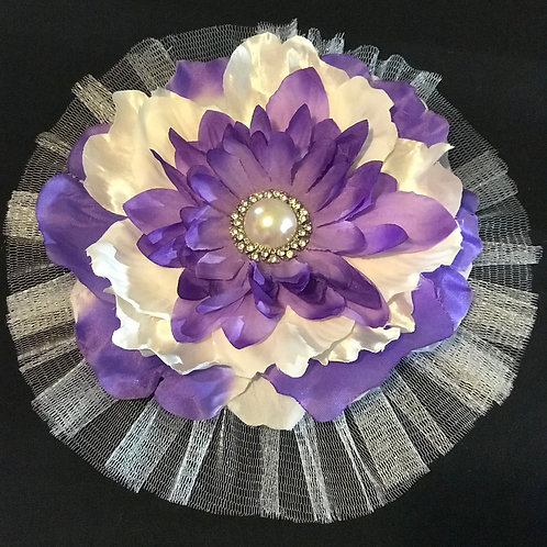 Large Purple and white with pearl center