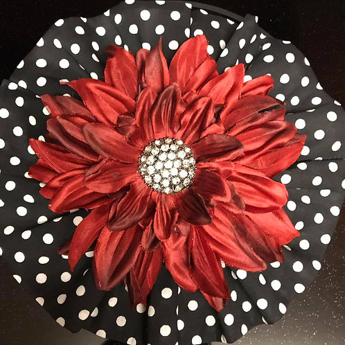 XLarge Red with Rhinestone Center and Polka Dot