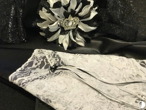 Large Black Lap Scarf with White Lace