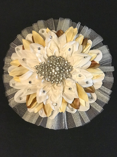 Large Tan/Beige with Rhinestones Center and petal bling
