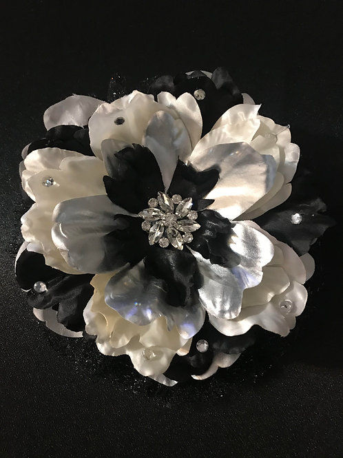 Large Silver and Black with Rhinestone Center and Petal Bling