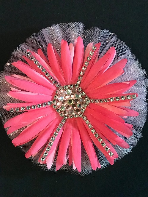 Medium Pretty as Pink lapel flower with rhinestones and bling