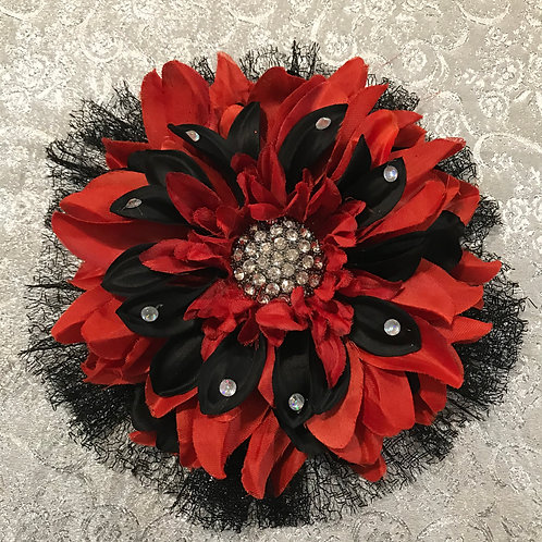 Large Red & Black with Rhinestone center and petal bling