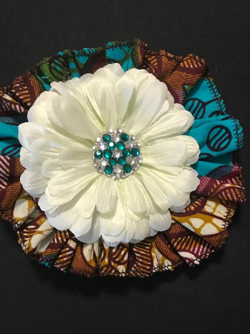 Medium Exotic Turquoise, off White flower with Turquoise Center