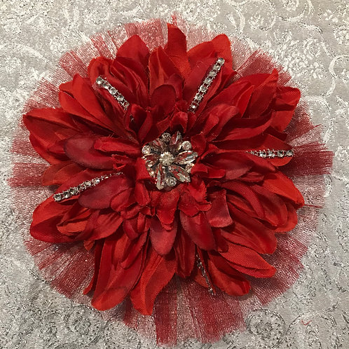 Large Red with Rhinestones and Petal bling