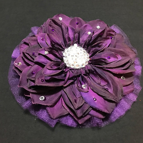 Large Purple with rhinestone and petal bling