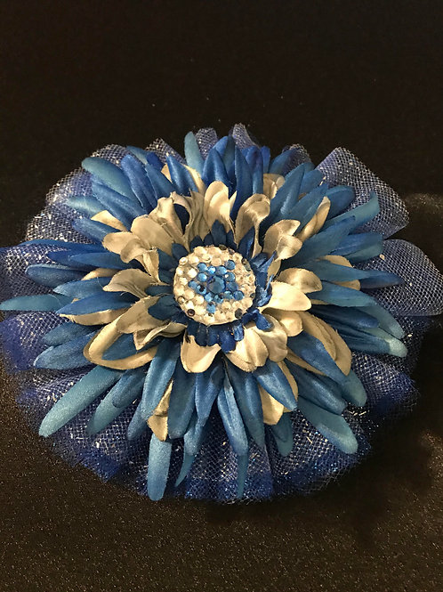 Medium Blue and Silver with Rhinestone Center