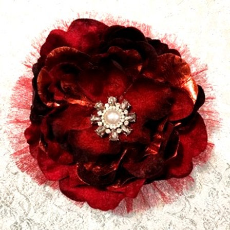 Medium Red flower with pearl center