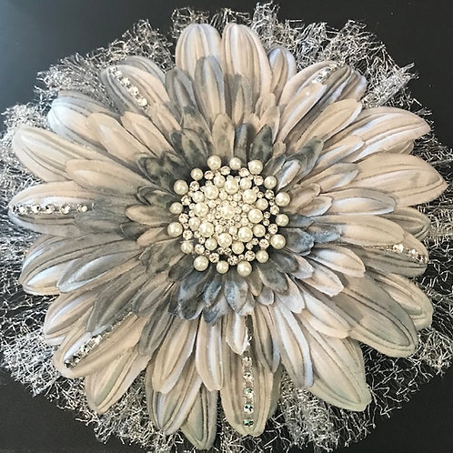 Large Silver flower with petal bling