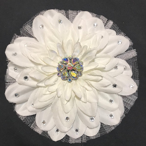 Large white flower with rhinestone center and petal bling