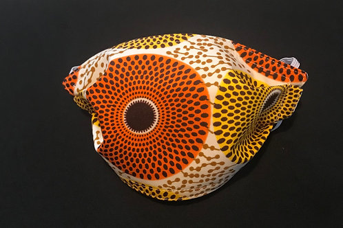 African Orange and Yellow Circles mask