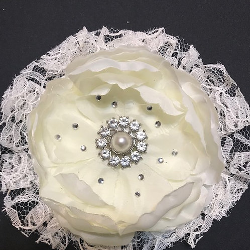Medium Off White flower with petal bling and rhinestone center and lace
