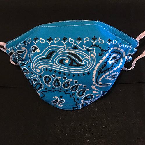 Turquoise Paisley mask