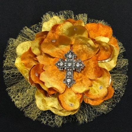 Large Gold flower with cross center