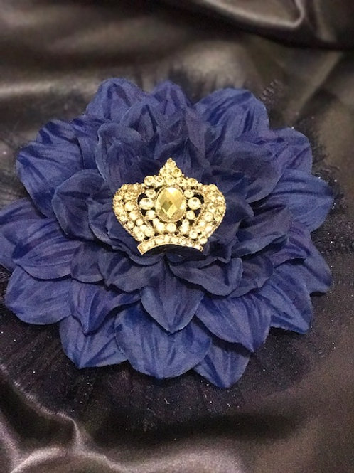 Large Navy Flower with Crown